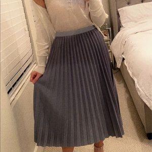 Steel Blue Pleated Midi Skirt